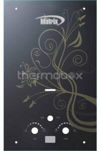 Колонка газовая Matrix 10L чёрное стекло с узором LCD