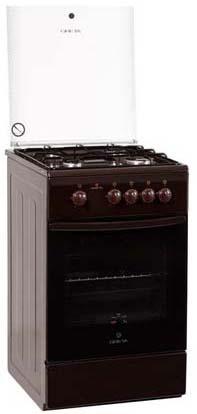 Плита комбинированная Greta 1470-ГЭ исп 10 коричневая (ГазДух, 3 газ, 1 эл, подсветка)