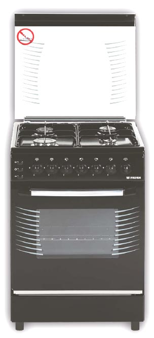 Плита газо-электрическая Fresh Fire 55х55 черно-коричневая, стол нерж (3 газ + 1 эл, газДух)