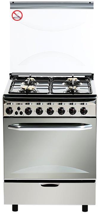 Плита газо-электрическая Fresh Italiano 60х60 нержавейка (4 газ конфорки, электро духовка)