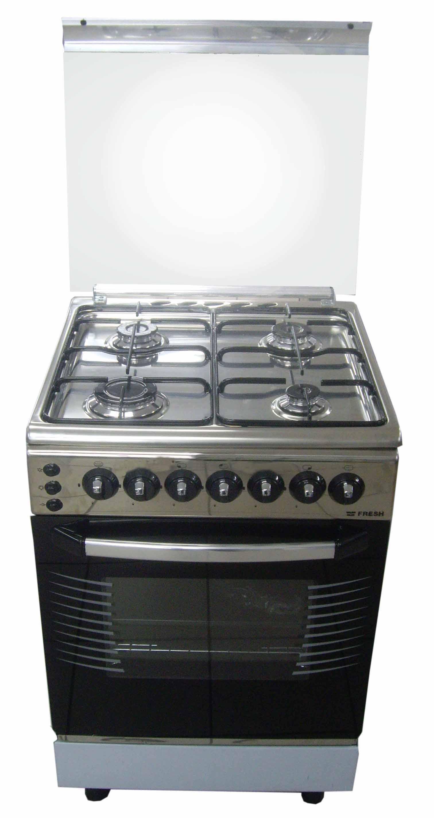 Плита газовая Fresh Forno 55х55 нержавейка (подсветка, розжиг, гриль)