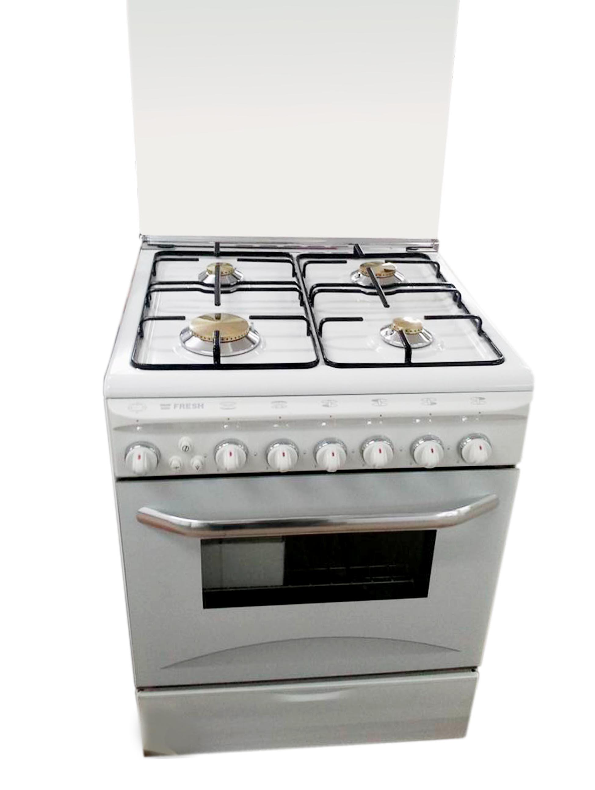 Плита газовая Fresh Italiano 60х60 белая (подсветка, розжиг, гриль)