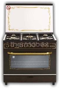Плита газовая Fresh New Jumbo 60х90 коричневая, стол нерж
