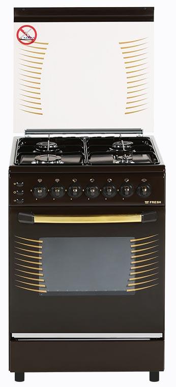 Плита газовая Fresh Forno 55х55 коричневая, стол нерж (подсветка, розжиг, гриль)