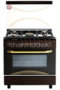 Плита газовая Fresh Italiano 55х80 коричневая, стол нерж (подсветка, розжиг, гриль)