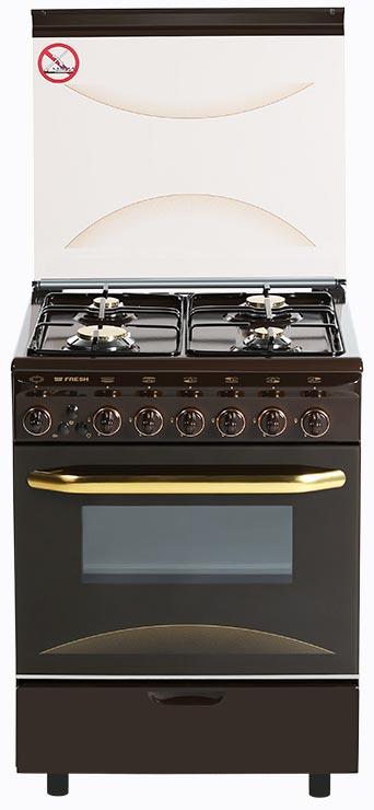 Плита газовая Fresh Italiano 60х60 коричневая (подсветка духовки, розжиг)