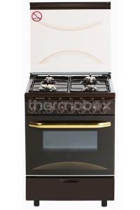 Плита газовая Fresh Italiano 60х60 коричневая, стол нерж (подсветка, розжиг, гриль)